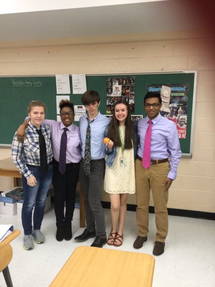 Merryn Brown; Tyler Robinson; DJ Lah; Ashley McDaniel; Sam Joseph dressed as teachers