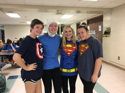Superman (Delaney Baker, Maddy Wineberg); Captain America (Shannon Schmalzbauer); Finn from Adventure Time (Georgia Varano)